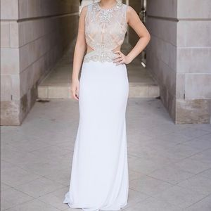 Alyce Paris #6501 White Evening Gown / Prom Dress